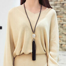 Elegant Sweater Chain Long Chain Necklace Beads Tassel Pearl Black Leather Women