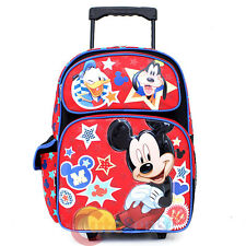 "Mickey Mouse Friends Large School Roller Backpack 16"" Wheeled Bag  Goofy Donald"