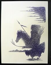 NATIVE AMERICAN HOWARD BLUE BIRD  PRINT OF HORSE SIGNED AND DATED 2014