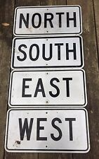 "Retired 12"" X 24"" North South East West Highway Traffic Black & White Lot Of 4"