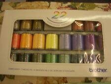 BROTHER EMBROIDERY MACHINE THREADS 22 ASSTD COLOURS ONE BOX SATIN FINISH