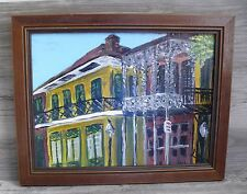 Oil Painting New Orleans Old Quarter Porches Prof. Framed Signed Lee