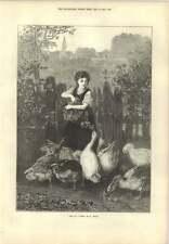 1873 Goose Girl At The Gate Feeding Time E Knaus Artwork
