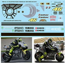 1/12 VALENTINO ROSSI YAMAHA M1 TEST BIKE 2012 2013 DECALS TB DECAL TBD148