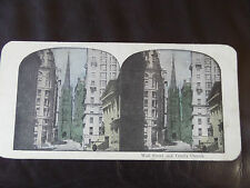 "c.1900 3d COLOUR STEREOGRAPH/ STEREOGRAM PHOTO CARD ""Wall Street & Trinity.. """