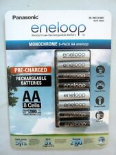 Panasonic Eneloop Monochrome 8 Pack AA 2000mAhLSD NiMH Rechargeable batteries