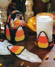CANDY CORN PARTY ACCENTS HALLOWEEN  PLASTIC CANVAS PATTERN INSTRUCTIONS