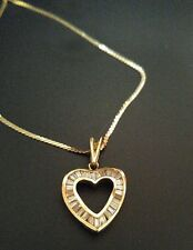 LADIES 18K YELLOW GOLD AND BAGUETTE DIAMOND HEART NECKLACE