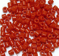 Dark Orange Tile Beads 250 Czech Glass native jewelry beading