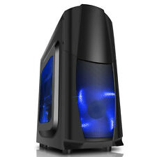 CiT Dragon³ Midi Tower Micro ATX Black Gaming PC Case USB 3.0 12cm Blue LED Fans