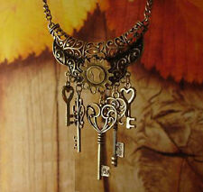 Hot Vintage Bronze Color Heart Key Pendant Sweater Long Chain Necklace Gift New