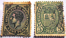 FRANCOBOLLI ANTICHI 1875 1876 SPAIN TAX WAR SPAGNA Sellos Antiguos ANCIENT STAMP