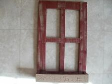 Red Weathered Look Window Pane With Box  Primitive Wood