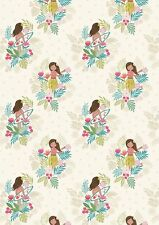 Fat Quarter Island Girl Polynesian Look White Sand 100% Cotton Quilting Fabric