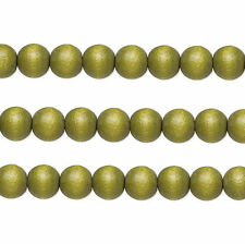 Wood Round Beads Light Forest Green 8mm 16 Inch Strand