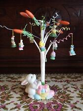 Easter Tree White Wire Miniature Ceramic Bunny Rabbit Base Wood Carrot Tips