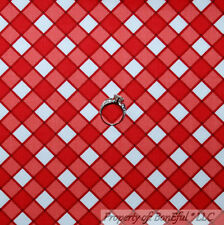 BonEful Fabric FQ Cotton Quilt Red White Plaid Calico Gingham Check Block Stripe