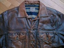 LEVI STRAUSS & Co. WESTERN WEAR BROWN LEATHER TRUCKER JACKET M BLANKET LINED VTG