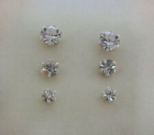 925 Sterling Silver 3 Pairs Round 3mm, 4mm & 5mm Small Crystal Stud Earrings