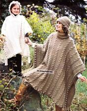 CABLE PONCHO /chunky knit - Ladies & child knitting pattern
