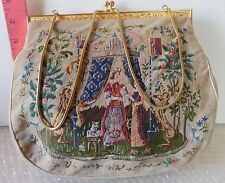 Vintage Beautiful Tapestry Purse Goldtone Metal Closure Royalty Animals RARE!!
