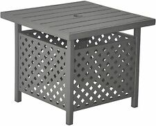"""New Metal Side Table BROWN Outdoor End Table with Umbrella Stand - 22"""" x 23"""" H"""