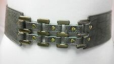 Women Fashion Gray Waist Belt With Gold Metal Design Size S