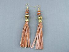 """Brown tassel earrings gold bead faux leather 4.5"""" long fringe dangle lightweight"""