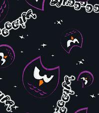 Fabric Owl Whooo Purple on Black Flannel 1 Yard