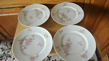 """D C Limoges France 3 Dinner Plates 9 3/4"""" Plates L Bernardaud Pink Roses"""
