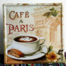 Retro Cafe Paris Coffee Cup Metal Sign Home Kitchen Wall Decor Tin Poster LD467