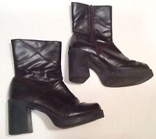 Platform Chunky Heels Ankle Boots Brown Lower East Side Womens 7 Vintage 90s