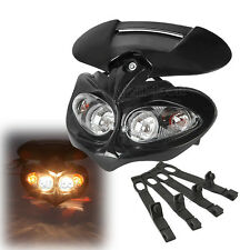 Universal Head Light Lamp Fairing Motorcycle Street Fighter Dual Sport Bike Dirt