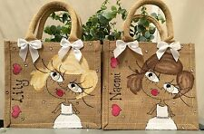 3 x Personalised Jute Bag Bridesmaid Flower Girl Gift 22cm x 22cm