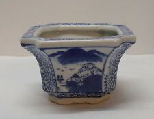 Planter Potpourri Mountainside Boats Blue and White Porcelain Small Vintage