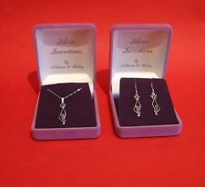 Silver Sophisticated Cat Design Dangling Earrings & Pendant Jewellery Gift NEW