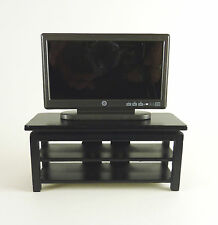 Dollhouse Miniature Wide Screen TV Stand, Black, STAND only, T5978