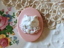 "Cameo ""Kitty""Cat Button~Molded Cameo~40x30mm~White over Pink~ ^..^  Rescue"