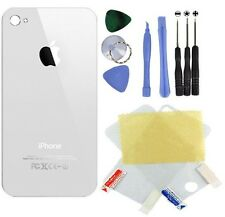 New - White - iPhone 4 Back Glass Replacement + 8 In 1 Tools + Screen Protector