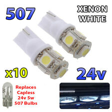 10 x White 24v Capless Side Light 507 501 W5W 5 SMD T10 Wedge Bulbs HGV Truck