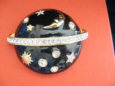 SWAROVSKI SWAN SIGNED CLEAR CRYSTAL & BLACK ENAMEL PLANET BROOCH PIN RETIRED