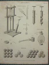 1819 DATED ANTIQUE PRINT ~ PNEUMATICS FREEZING APPARATUS PEAR GAGE CONDENSER