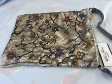 NEW WITH TAGS WHITING & DAVIS SILVER MESH W ENAMEL FLOWERS  GORGEOUS EVENING BAG