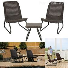 Patio Bistro Set 3 Piece Wicker Outdoor Dining Furniture All Weather Balcony New