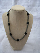 """Vintage 18"""" Silver & Square Chunky Black Bead Necklace"""