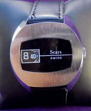 Serviced~1970s Sears Swiss Digital Jump Hour Direct Read Mens Watch
