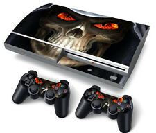 PS3 Original PlayStation 3 Skin Stickers PVC for Console & 2 Pads Skull Red Eyes