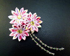 Elegant flower pink purple blue white hair clip kanzashi w/ crystals and beads