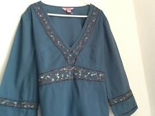 ladies top size 14 UK Monsoon Beautiful teal top black and white size 14 blouse