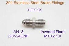 AN3 to M10x1.0 Inverted Flare Stainless Steel Brake Fittings Adapter 3/8x24-UNF